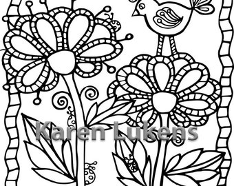 5 pages, Flowers Coloring Pack #1 , 5 Adult Coloring Book Pages, Printable Instant Download