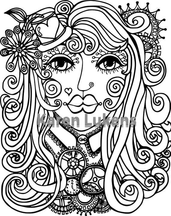 Items Similar To Steampunk Girl 1 Adult Coloring Book