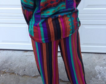 Vintage Abstract Print Pants