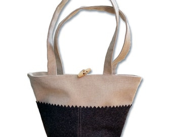 Bag small, flax and wool grey Made in France Made in Breizh