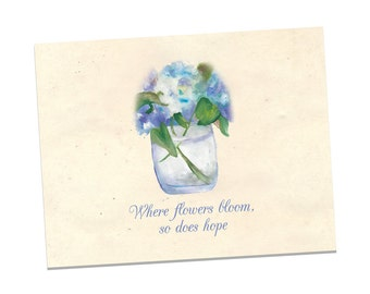 Personalized Note Cards - Hydrangea Personalized Note Cards - Flower Notecards