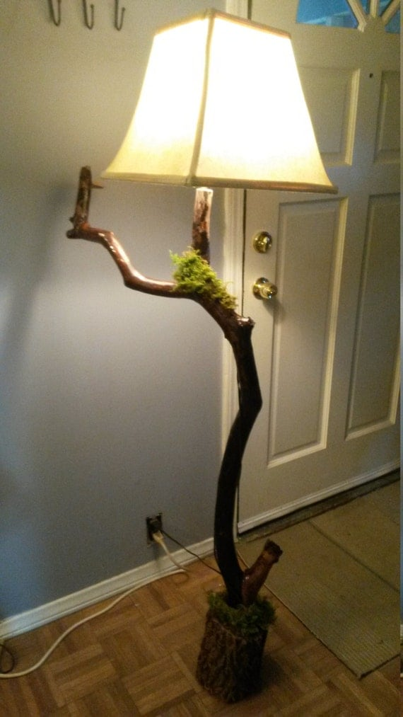 Tree branch floor lamp by craftyladycreation on etsy for Tree limb floor lamp