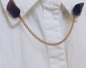 Petrified Wood x Bright Gold Collar Pin