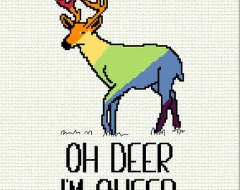 Oh Deer I'm Queer Cross Stitch Pattern Rainbow Deer Gay Pride Counted Cross Stitch Chart PDF LGBT