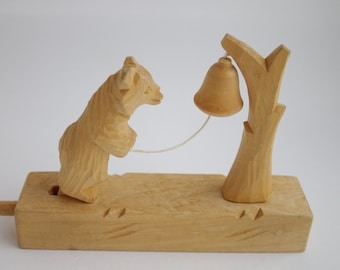 Wooden toy Bear and bell