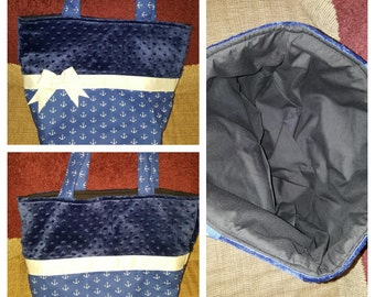Blue Anchor Minky diaper bag