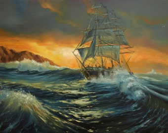 Ship at sea original oil painting 19x27in Seascape, gift for men Stormy sea home decor Storm in ocean Canvas art