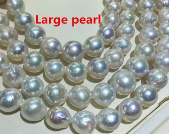 13-16mm Large Baroque pearl strand,Nuclear round  Edison full strand,Large straight hole1.2mm,1.5mm,2.0mm,high luster white loose pearls