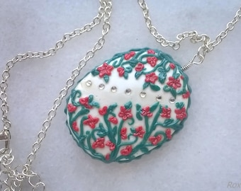Handmade Fimo Red Flowers Pendant
