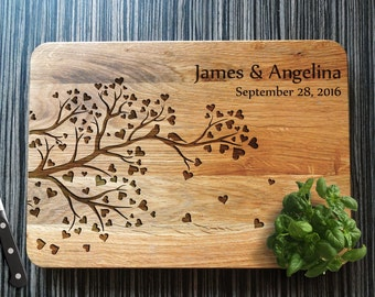 Personalized Cutting Board, Wedding Gift Tree Cutting Board, Anniversary Gift, Valentines Day, Bridal Shower Gift, Gift for couple