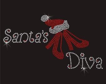 Christmas Santa's Diva Iron On Bling Transfer