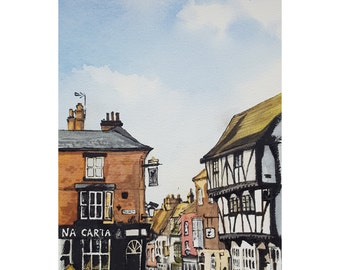 Down Steep Hill - Fine Art Giclée Print, beautiful townscape of famous Lincoln Steep Hill