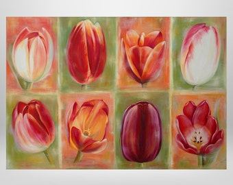 Tulips, flowers, original oil painting