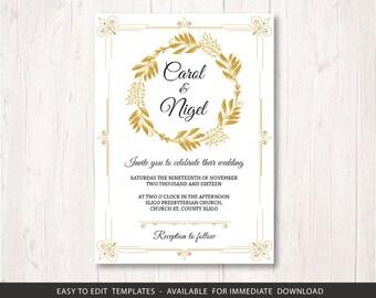 gold wedding invite template, printable wedding invitation set, golden wedding invitation template, gold wedding invite template stationery