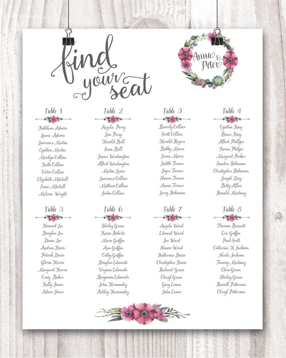 Personalized Wedding Seating Chart Table Seating plan Pink Peonies ...