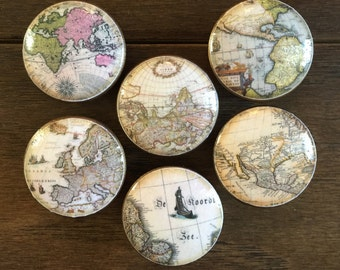 1.5 inch, old world maps, world maps, maps, cabinet knobs, drawer pulls, EACH SOLD SEPARATELY, antique, office, library knobs, desk knobs