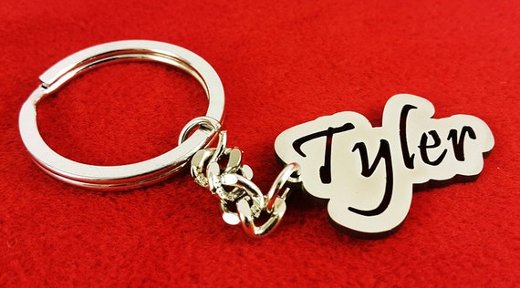 Personalized Inside Box Hollow Cut Single Named  Metal Key chain