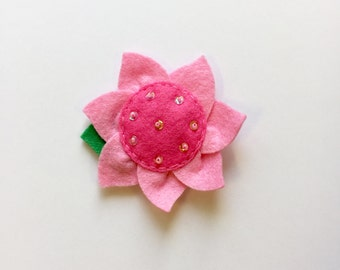 Felt Flower - Pink with Beads