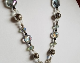 Set: Long Crystal/Glass Bead Dangle Necklace and Earrings
