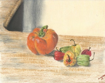 Orange Pepper & Jamaican Hot Peppers, Pastel Painting, Kitchen Art