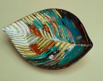 Hand painted glass plate - shaped leaf in spring colors