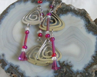 Pink and Purple Swirl Earrings