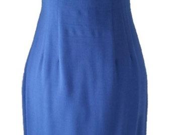 Linen Sailor 4-6 Wiggle Dress Fitted Sheath Blue Summer Cotton 60s late 50s Vintage Linen Dresses Mr. Mort Cobalt Blue Marilyn Monroe Style