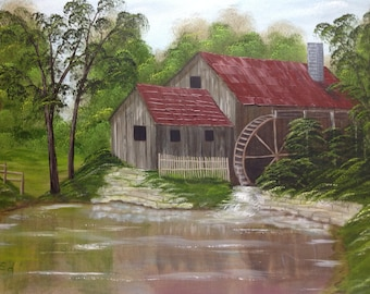 Old water wheel-Original landscape painting-home decor-wall Art-
