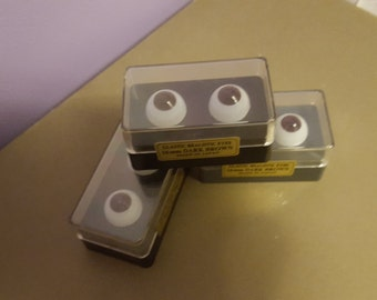 Reduced Price--3 Sets of Beautiful Vintage Realistic Glastic Doll Eyes Dark Brown Size: 16mm