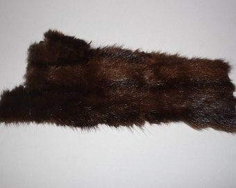 Genuine  Mink Piece for crafting or sewing - Fur Material - Scrap - Dark Brown Color