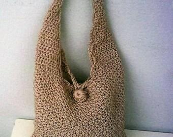Crochet Women's Shoulder Bag   Polyester Yarn  Beige Color Crochet Handbag Bag & Purses Women's Handbags
