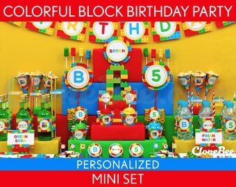 Colorful Blocks Birthday Party Package Collection Set Mini Personalized Printable // Colorful Blocks - B22Pz1