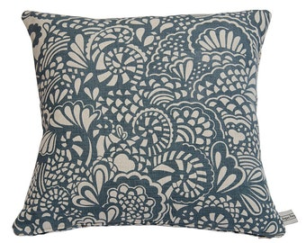 Hand Printed Blue Swirl Pillow