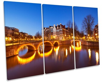 Amsterdam Canals City Treble CANVAS WALL ART Box Framed Picture