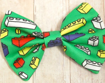 Green Building Blocks Bow// Toys, Novelty, Gift