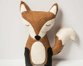 Handmade Felt Fox Plushie / Stuffed Fox / Cute Woodland Fox Stuffed Animal