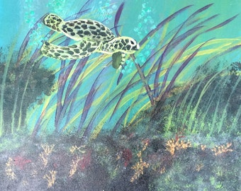 From the Beach, sea turtle painting, sea turtle art, sea turtle, sea turtle decor, beach art, wall hanging