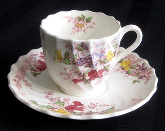 Espresso Coffee Set Copeland Spode Demitasse Cup and Saucer Set - Fairy Dell Pattern