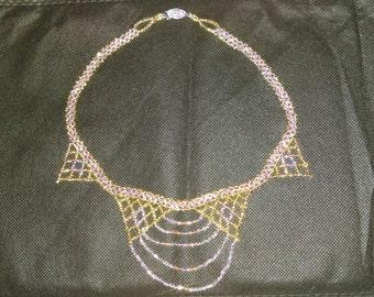 Glass Beaded Bib Necklace