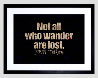 Quote Not All Who Wander Are Lost Motivation Typography Red Poster FEQU308B