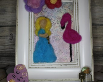 3d needle felt alice in wonderland inspired frame