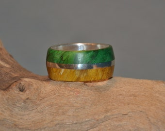 silver ring with maple burl
