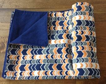 Trendy baby blanket, receiving blanket, modern blanket, boy blanket - SALE - blue, orange & chevron baby blanket