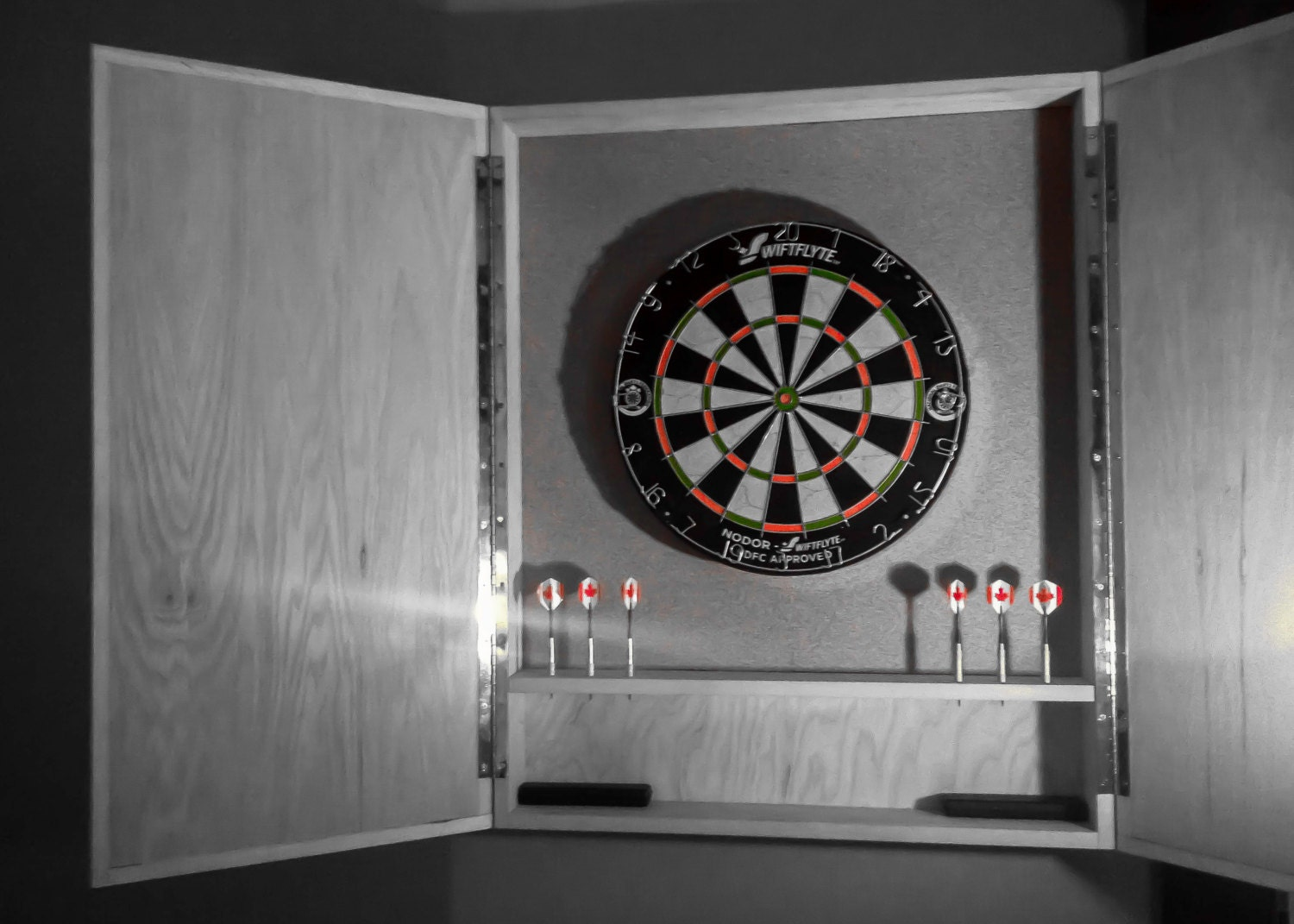 Solid Hardwood Dart Board Cabinets With Modern Lines