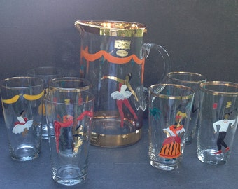 Shabby french Blown glass Juice Pitcher and Glass Set. Serving lemonade or ice tea glass. 1950's french Cocktail Set