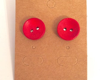 Bright As A Button Earrings - Red