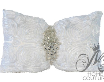 Satin Rose Embroidered  Bow Tie Pillow Cover