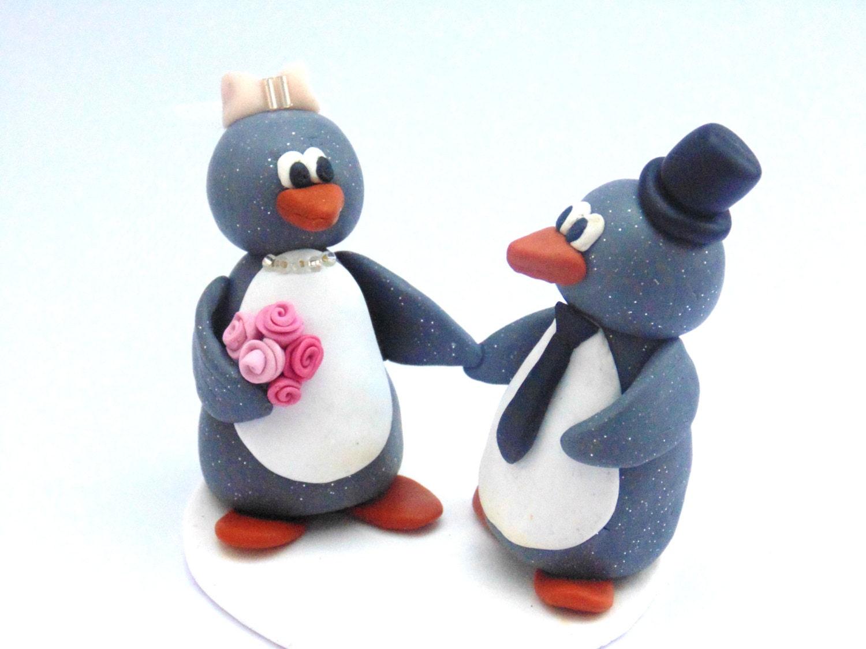 Penguin Wedding Topper Bride and Groom Penguins Custom