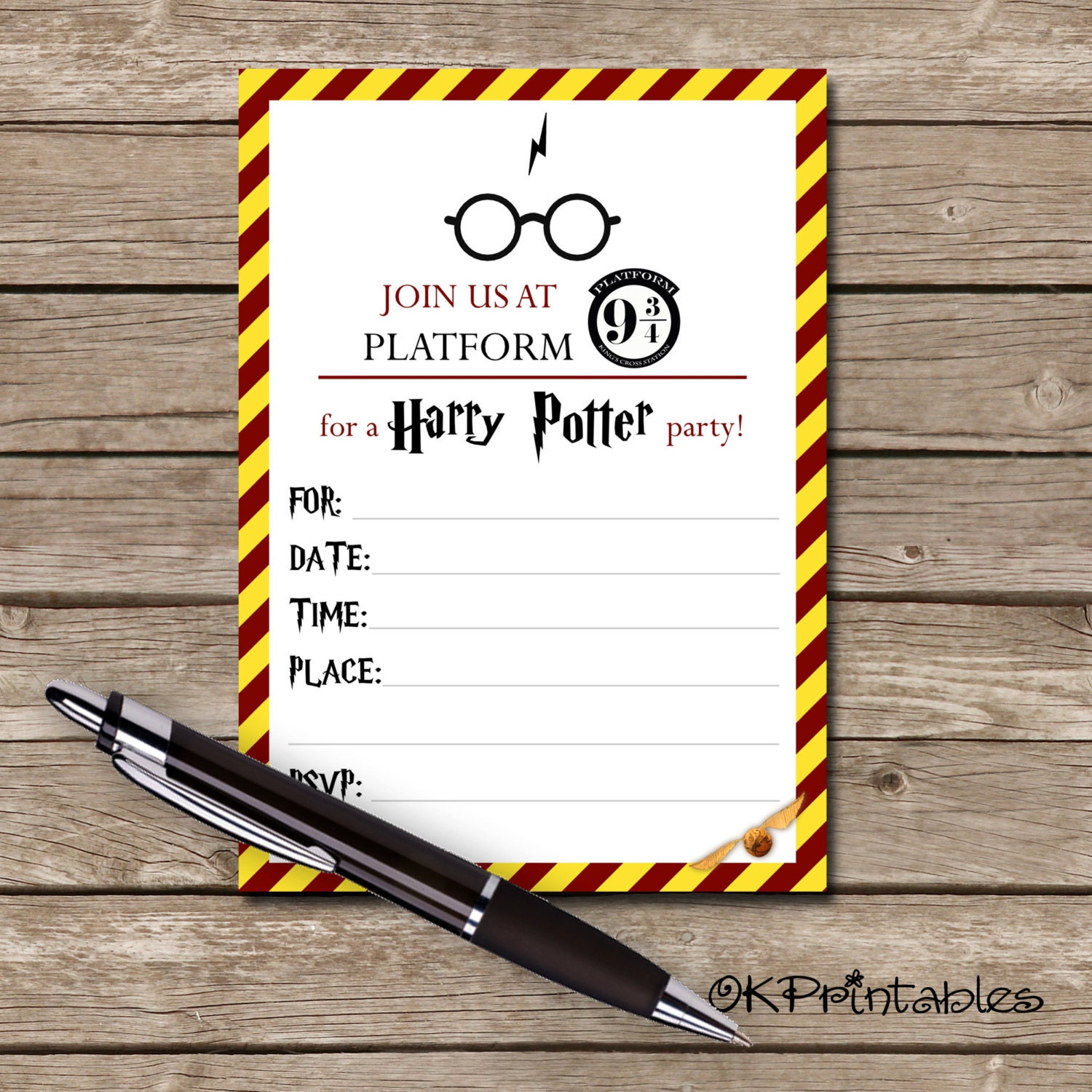 Dashing image pertaining to printable harry potter invitations
