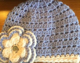 New! Light Pink & Purple Crochet Hat